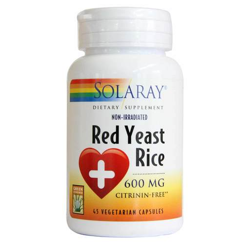 Solaray Red Yeast Rice - 600 mg - 45 Vegetarian Capsules - 36555_front.jpg