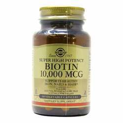 Solgar Super High Potency Biotin - 10,000 mcg - 60 Vegetable Capsules