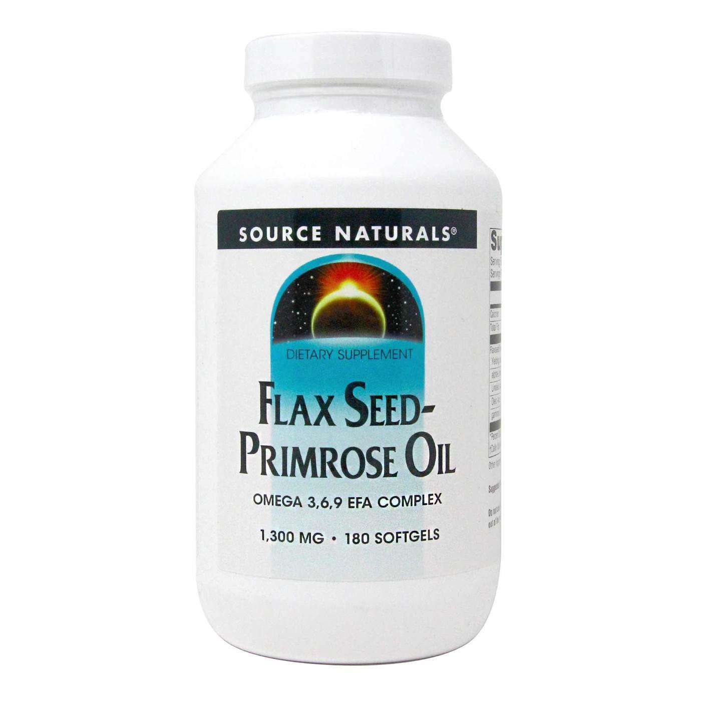 Source Naturals Flax Seed Primrose Oil 1 300 Mg 180 Softgels