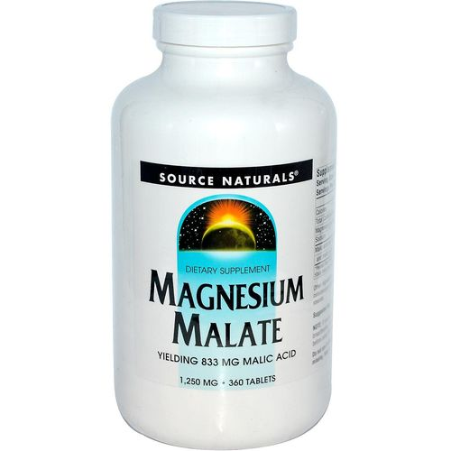 Source Naturals Magnesium Malate  - 1,250 mg - 360 Tablets