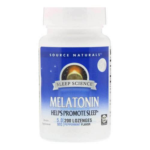 Source Naturals Melatonin Peppermint - 5 mg - 200 Sublingual Lozenges - 82992_front2020.jpg