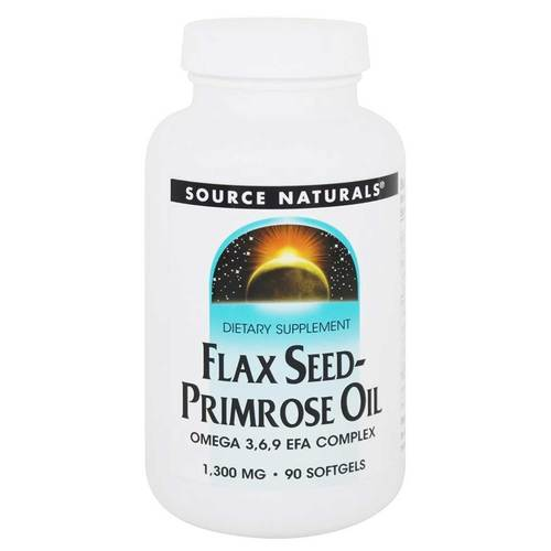 Source Naturals Flax Seed-Primrose Oil 1-300 mg - 90 Softgel - 83225_front.jpg