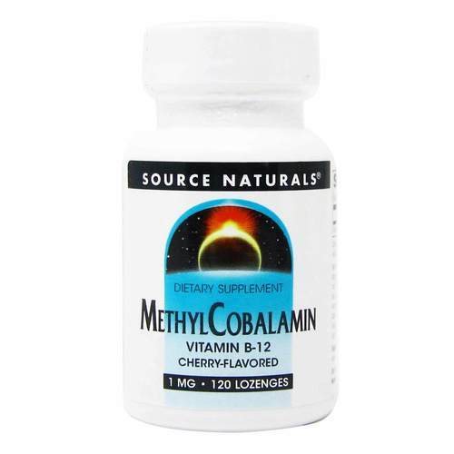 Source Naturals MethylCobalamin Vitamin B12 Cherry - 1 mg - 120 Tablets - 83270_front2020.jpg