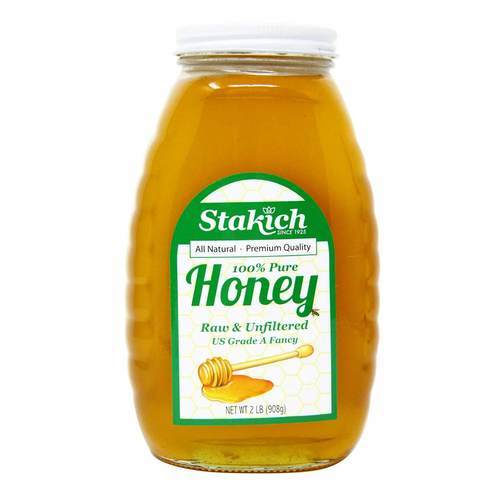 Stakich 100% Pure Honey Unfiltered Raw - 2 lb (908 g) - 54021_front2020.jpg