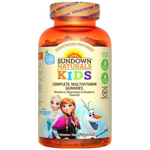 Sundown Naturals Complete Kids Multivitamins Disney's Frozen - Strawberry, Watermelon and Raspberry - 180 Gummies
