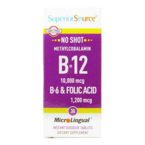 Superior Source No Shot B12 - 10,000 mcg with B6 and Folic Acid - 30 Tablets - 13897_front2020.jpg