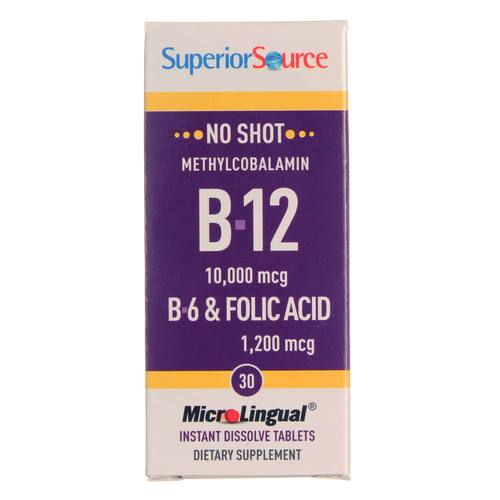 Superior Source No Shot B12 - 10,000 mcg with B6 and Folic Acid - 30 Tablets - 20121003_144.jpg
