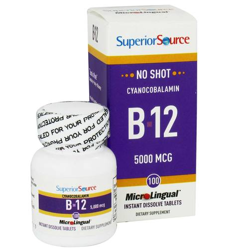 Superior Source No Shot B12 Cyanocobalamin - 5,000 mcg - 100 Tabletten