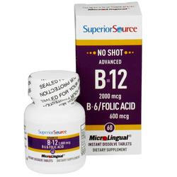 Superior Source No Shot Advanced B12 2000 mcgB6Folic Acid 600 mcg