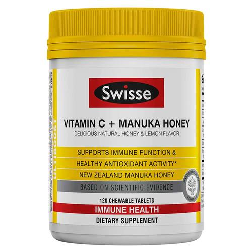 Swisse Vitamin C and Manuka Honey - 120 Chewable Tablets - 353258_front.jpg
