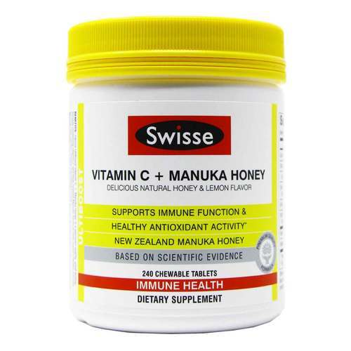 Swisse Ultiboost Vitamin C + Manuka Honey - 240 Chewable Tablets - 355184_front.jpg