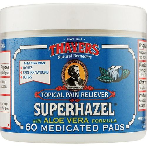 Superhazel with Aloe Vera Topical Pain Reliever Pads