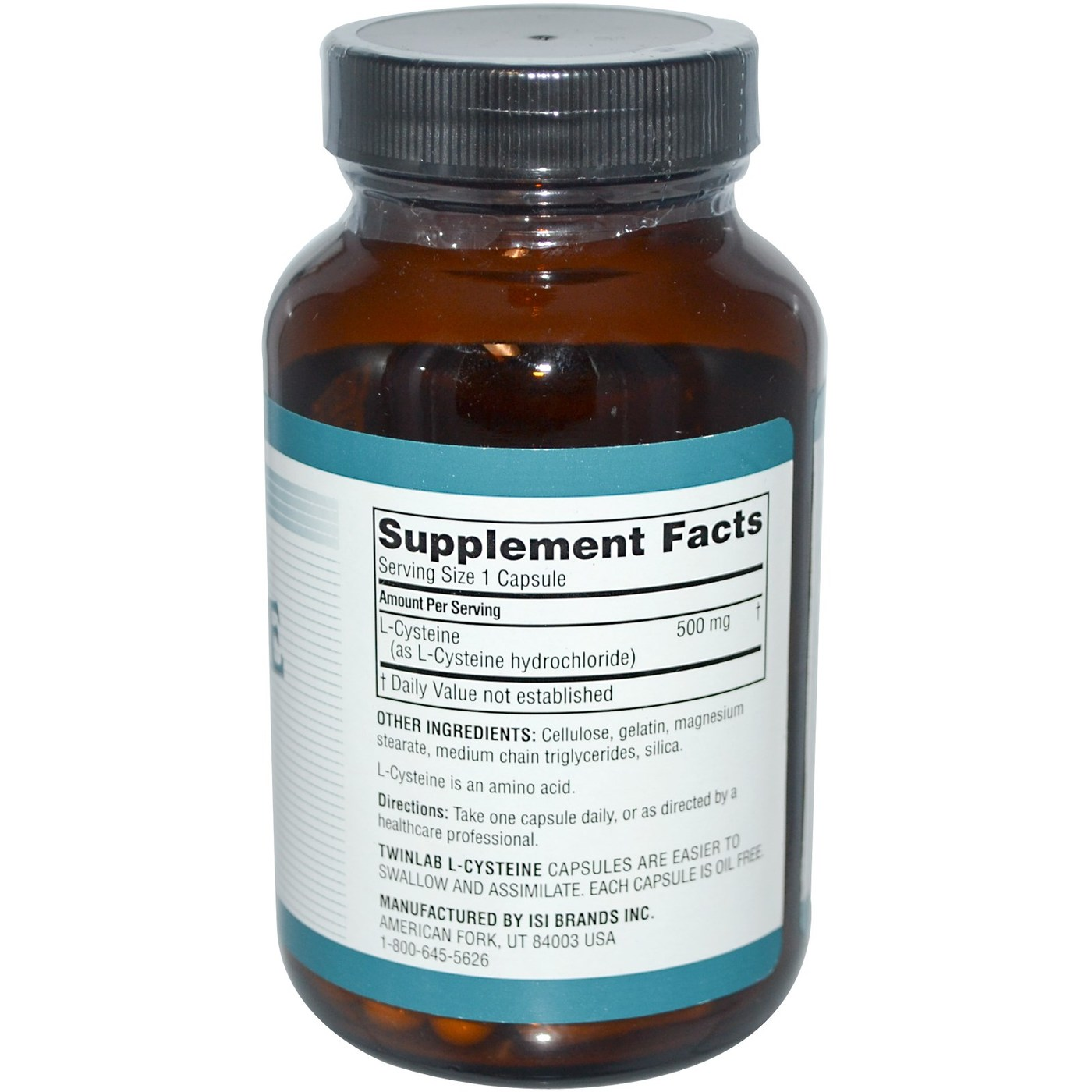 Twinlab L-Cysteine - 500 mg - 60 Capsules - eVitamins.com
