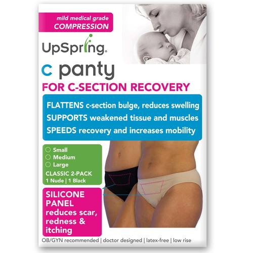 UpSpring Classic Waist C-Section Recovery Underwear 2-Pack Small - Nude/Black - 116215_0.jpg