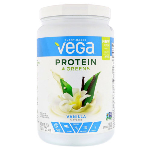 Vega Protein and Greens Vanilla - 21.7 oz - 110997_front.jpg