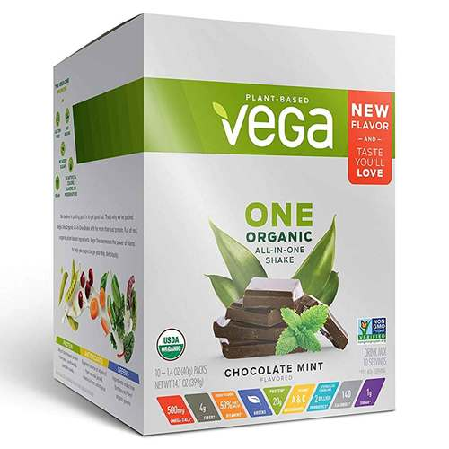 Vega One Organic All-in-One Shake Chocolate Mint - 10 x 1.4 oz Packs - 352343_front.jpg