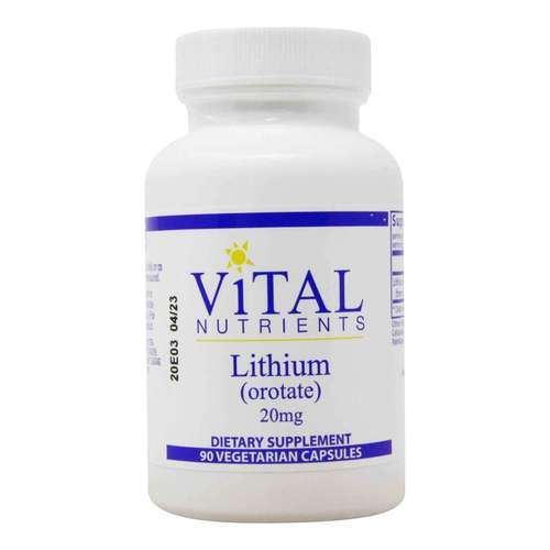Vital Nutrients Lithium (orotate) 20 mg - 90 Vegetarian Capsules - 321749_front2020.jpg