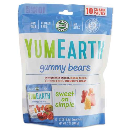 Yummy Earth Gummy Bears Clasificado - 10 - 20g Snack Packs - 64702_front.jpg