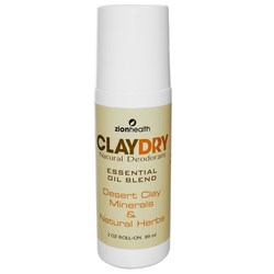 Zion Health Clay Dry Natural Roll-On Deodorant