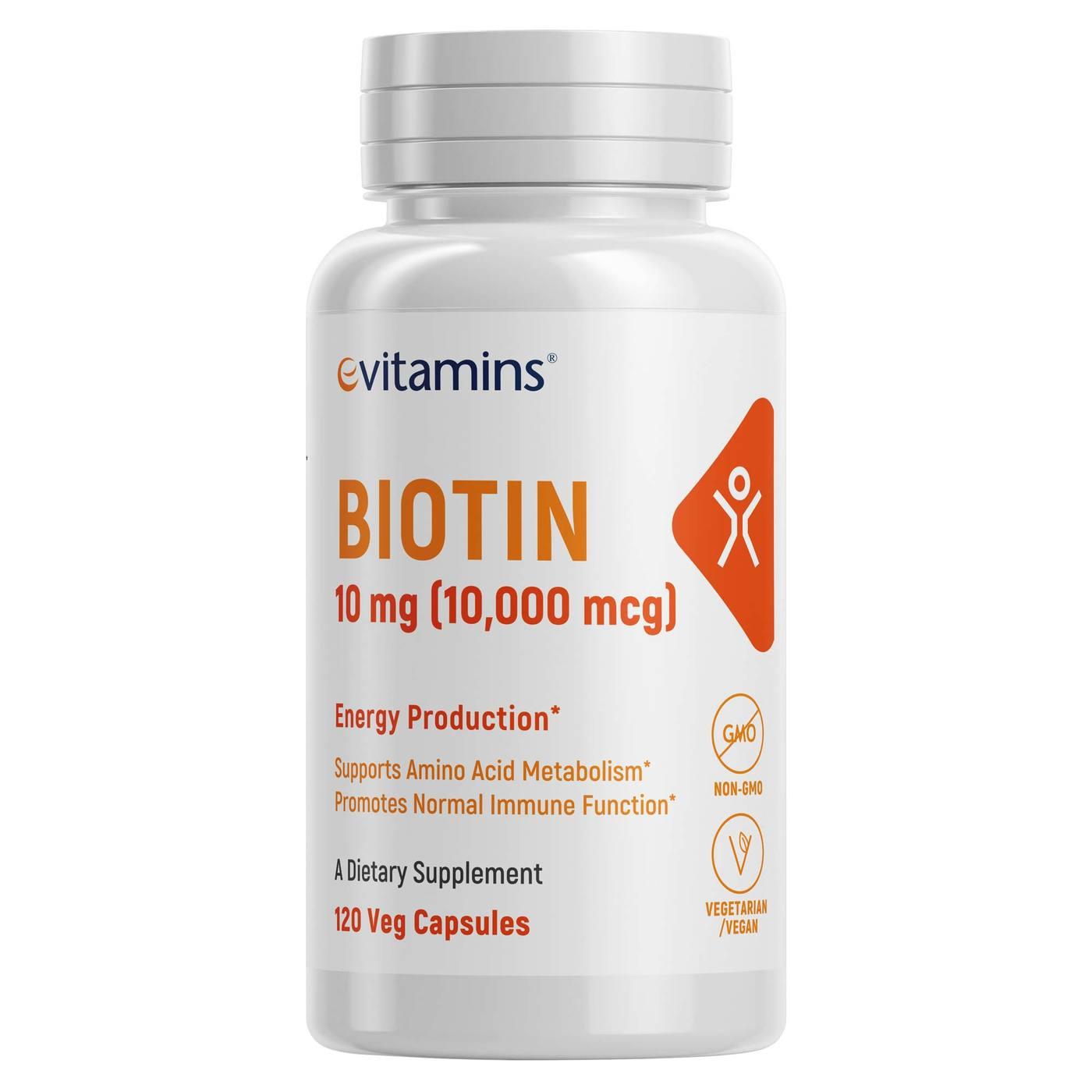 Evitamins Extra Strength Biotin Vegetarian Non Gmo 10000 Mcg 100 Tablets Natrol Hover To Zoom
